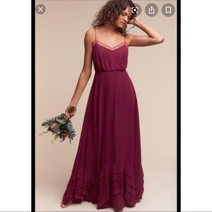 Watters BHLDN dark purple plum dress gown 2